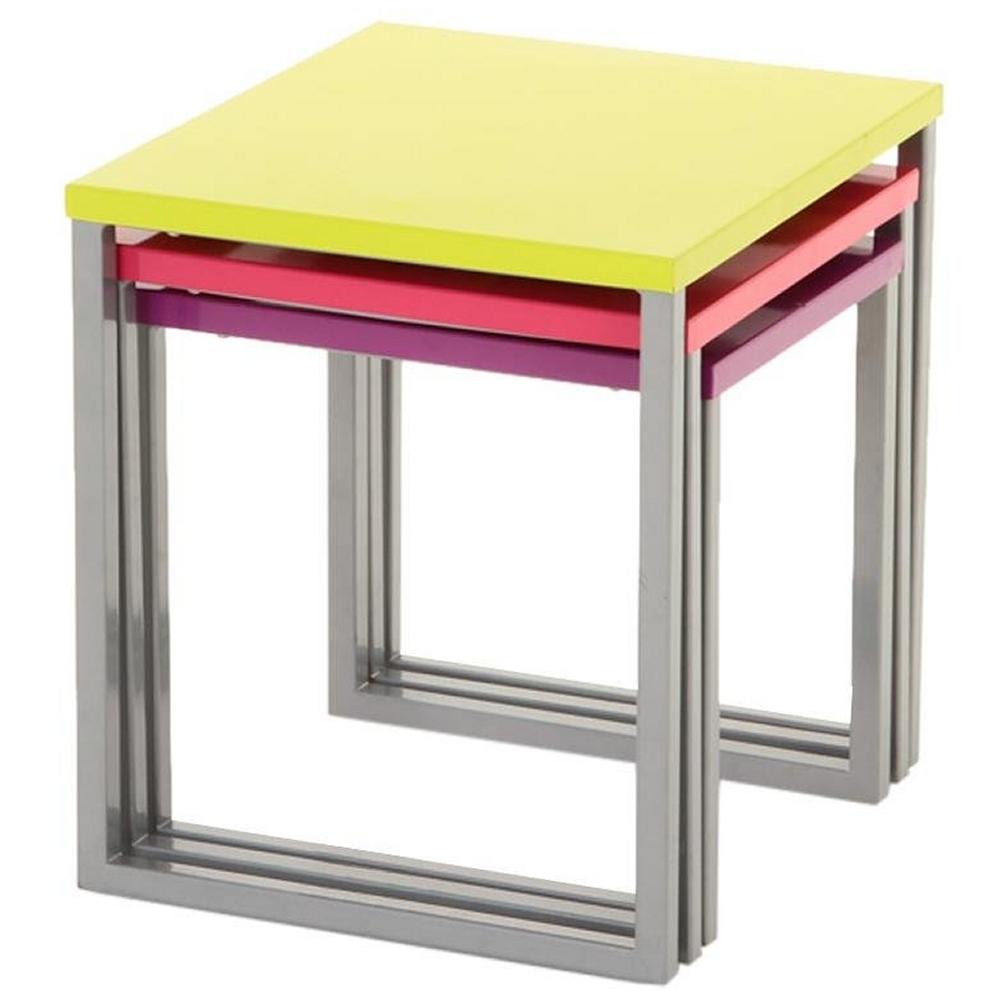 Ensemble de 3 tables basses gigognes multicolore en acier Table basse multicolore
