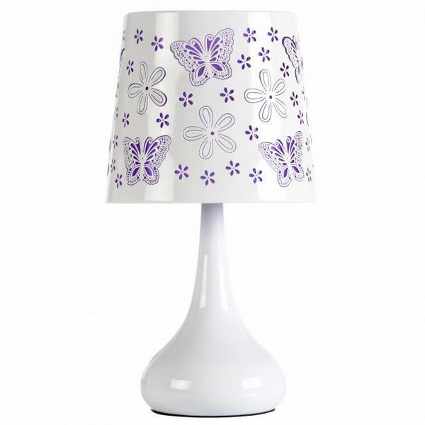 lampe touch 40w papillons rose maison fut e. Black Bedroom Furniture Sets. Home Design Ideas