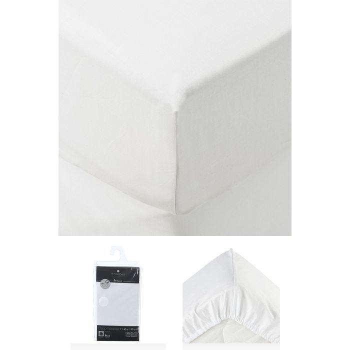 drap housse 2 personnes 140x190 cm 100 coton gris fonc maison fut e. Black Bedroom Furniture Sets. Home Design Ideas