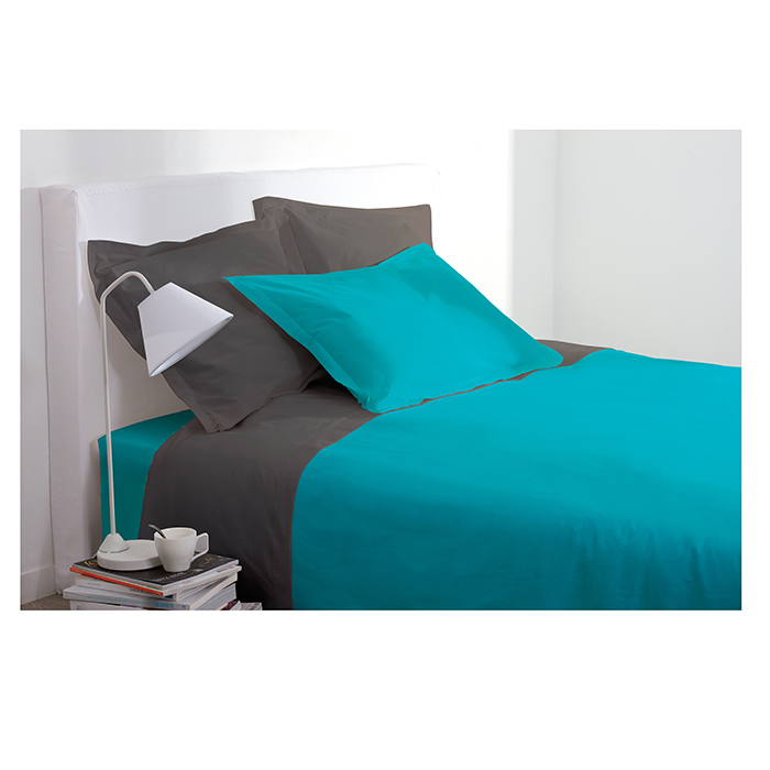 drap housse 2 personnes 140x190 cm 100 coton turquoise. Black Bedroom Furniture Sets. Home Design Ideas