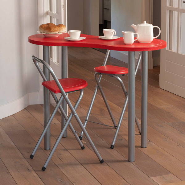Ensemble table coin repas 2 tabourets rouge maison fut e for Table gain de place cuisine