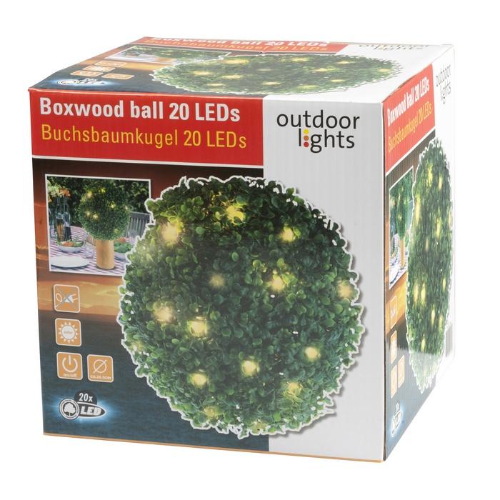 boule de buis 26 5 cm avec guirlande lumineuse solaire 20 led maison fut e. Black Bedroom Furniture Sets. Home Design Ideas