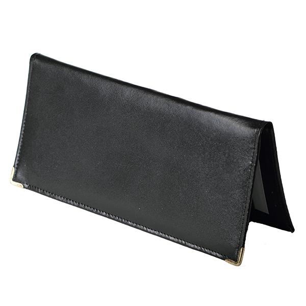 Porte ch quier long noir en croute de cuir v ritable - Porte chequier long ...