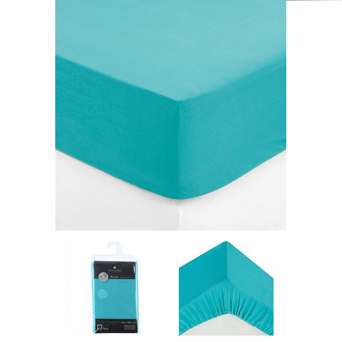 drap housse 2 personnes 160x200 cm 100 coton turquoise. Black Bedroom Furniture Sets. Home Design Ideas
