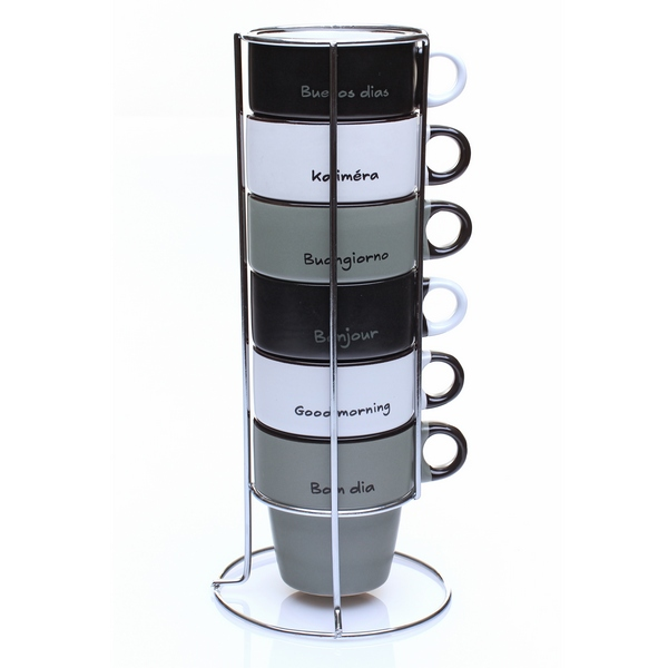 rack de 6 tasses pour caf cappuccino bonjour maison fut e. Black Bedroom Furniture Sets. Home Design Ideas