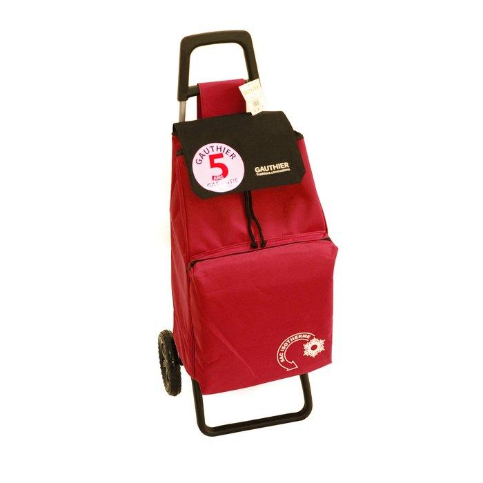 chariot de courses 2 roues poche isotherme 42 litres rouge maison fut e. Black Bedroom Furniture Sets. Home Design Ideas