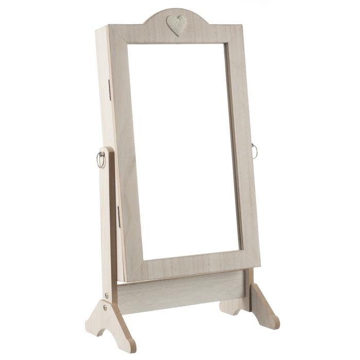 armoire bijoux sur pieds avec miroir pivotant 62 cm bois brut maison fut e. Black Bedroom Furniture Sets. Home Design Ideas