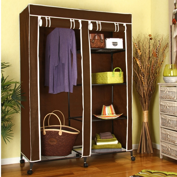 armoire de rangement avec penderie 5 tag res chocolat. Black Bedroom Furniture Sets. Home Design Ideas