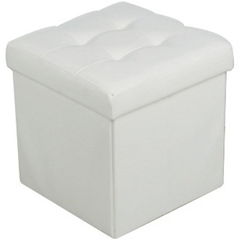 pouf de rangement pliable mod le blanc maison fut e. Black Bedroom Furniture Sets. Home Design Ideas