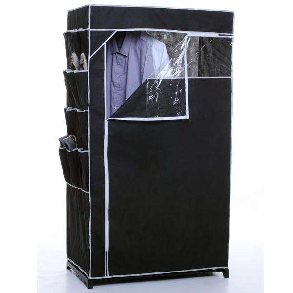 armoire penderie en toile et rangement chaussures noir maison fut e. Black Bedroom Furniture Sets. Home Design Ideas