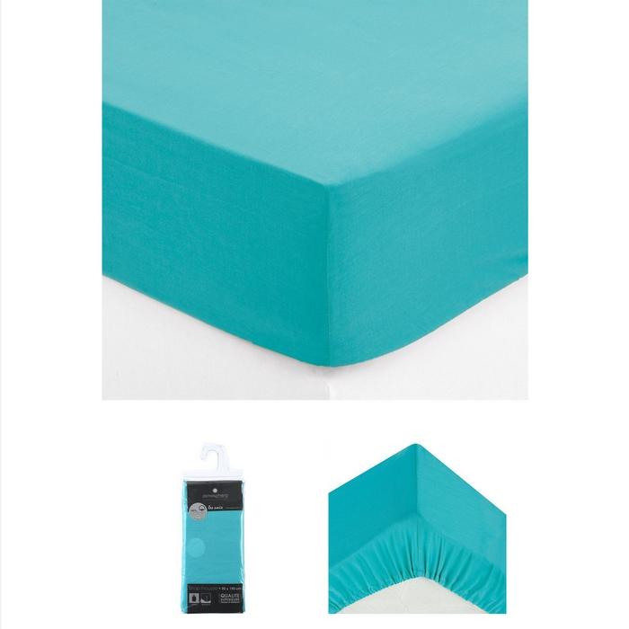 drap housse 2 personnes 140x190 cm 100 coton turquoise. Black Bedroom Furniture Sets. Home Design Ideas