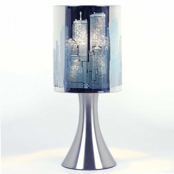 lampe touch new york city avec variateur de lumi re mod le bleu maison fut e. Black Bedroom Furniture Sets. Home Design Ideas